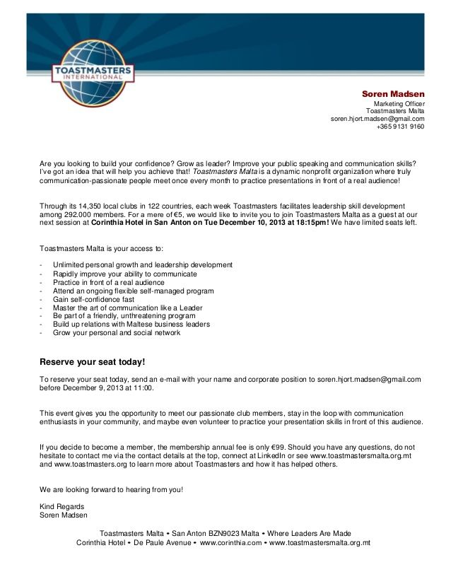 Toastmasters Malta Invite For Dec 10 2013 at 18.15pm!