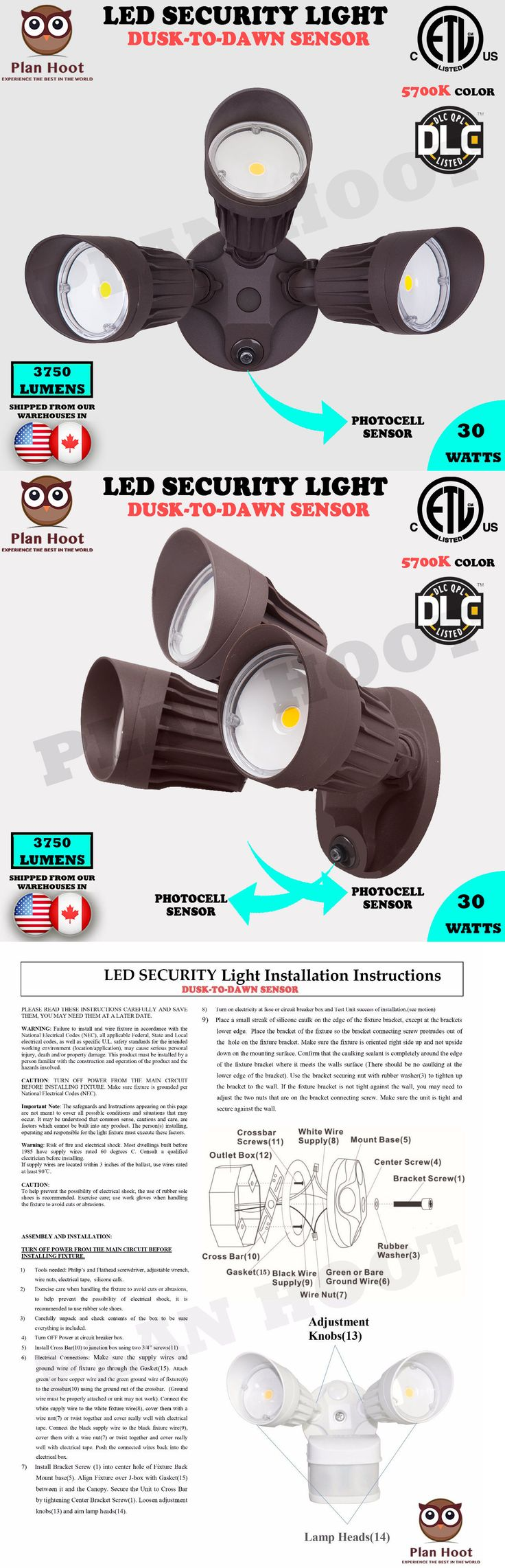 Outdoor Security and Floodlights 183393: 30Wt Bronze 3-Headed Dusk-To-Dawn Photocell Etl Dlc Led Outdoor Security Light -> BUY IT NOW ONLY: $59.99 on eBay!