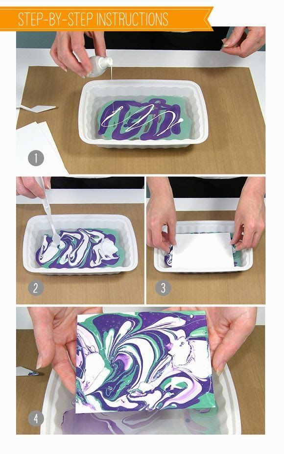 Best DIY Projects: Tis nail polish marbling technique is a fun way to create papers to use for paper crafting!