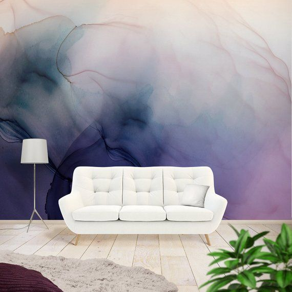 Abstract Wall Mural Abstract Art Mural Wall Murals For Bedroom Abstract Ink Art Peel And Stick Mural Removable Mural Purple Wallpaper