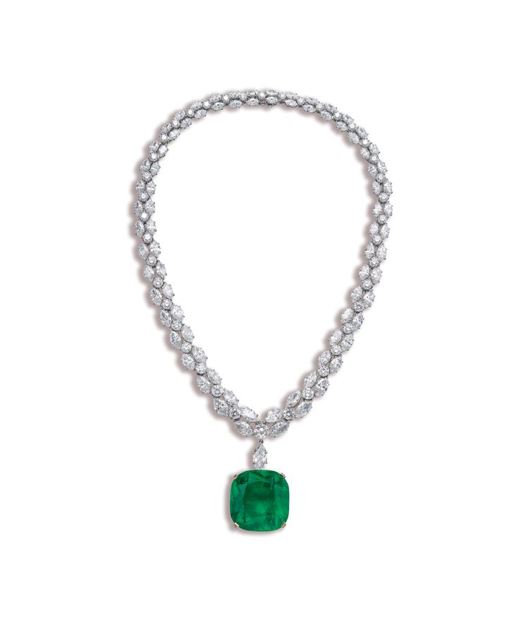 A 51.09 CARAT COLOMBIAN EMERALD AND DIAMOND NECKLACE,BY GRAFF