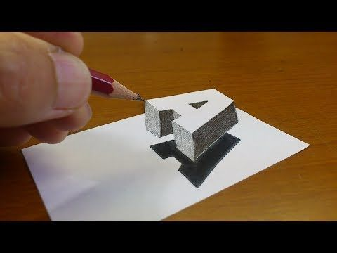 "Very Easy!! How To Drawing 3D Floating Letter ""A"" #2 – Anamorphic Illusion – 3D Trick Art on paper – YouTubePatrick's Cartoons"