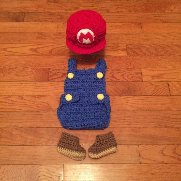 super mario bros baby photo prop crochet diaper cover set baby crochet outfit mario baby costume boy baby mario costume hat mario photo prop by HandcraftedLoot on Etsy https://www.etsy.com/listing/400555377/super-mario-bros-baby-photo-prop-crochet
