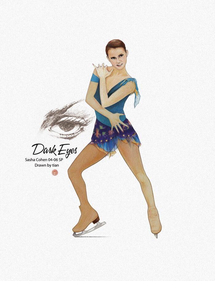 Sasha Cohen - Dark Eyes   Drawn by Tian   #SashaCohen #FigureSkating Visit artist's twitter for more: https://twitter.com/tian_skating