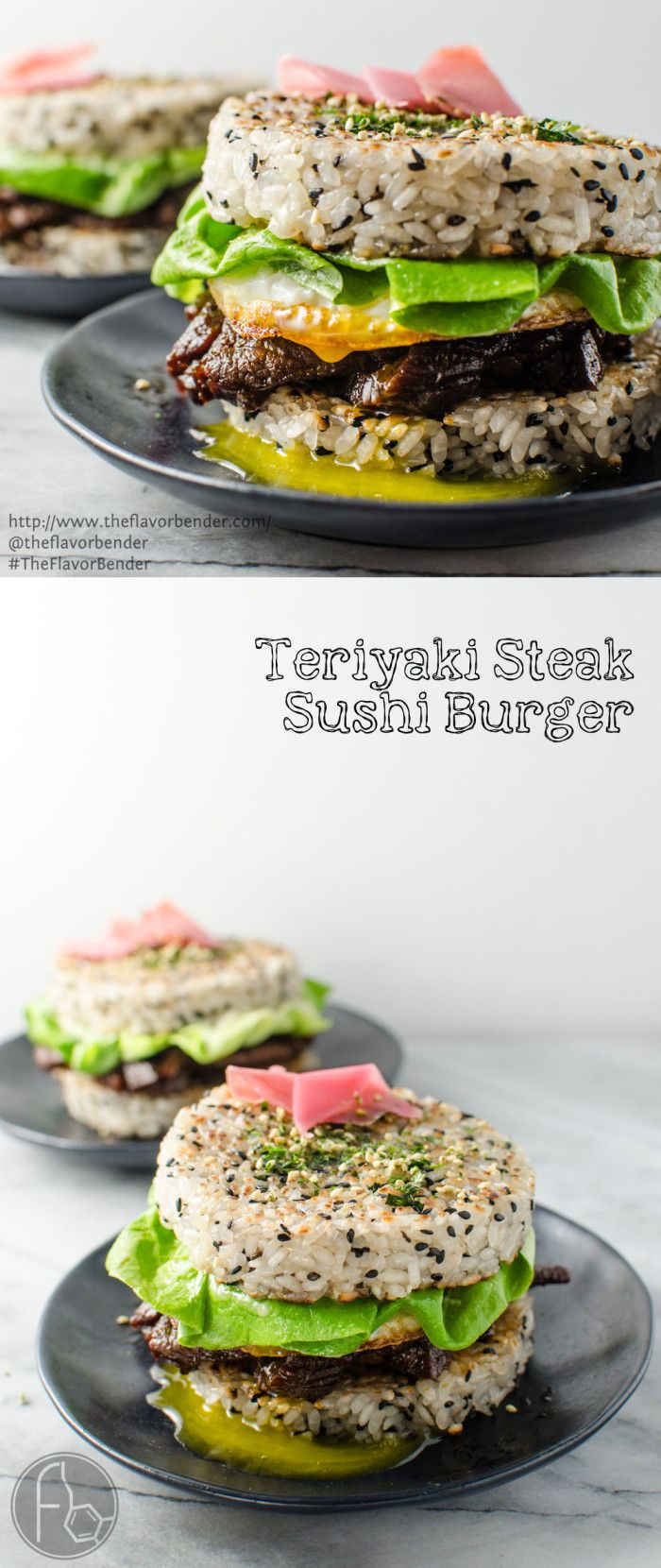 "Teriyaki Steak Sushi Burger - Delicious Teriyaki Glazed steak strips inside perfectly seasoned Sushi Rice ""Buns"" and topped with a glorious Egg. **Be sure to use gluten free tamari in place of soy sauce**"