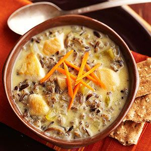 Chicken and Wild Rice Soup   *Canned soup and chicken broth speed prep time for this main-dish soup. The recipe comes from a Minnesota cafe.