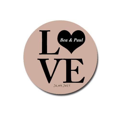 Gastgeschenke - LOVE - Magnet für eure Hochzeit - Cappuccino  - ein Designerstück von bea_betzi bei DaWanda