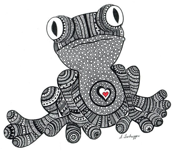black and white zentangle frog drawing print by limegreenartshop 15 00