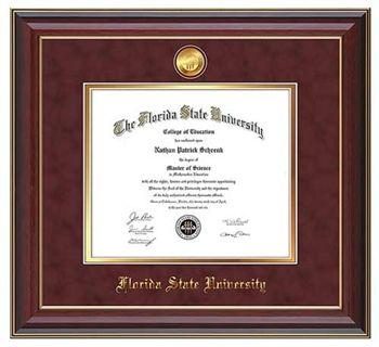 florida state diploma frame this cherry lacquer fsu diploma frame features a 24k gold plated