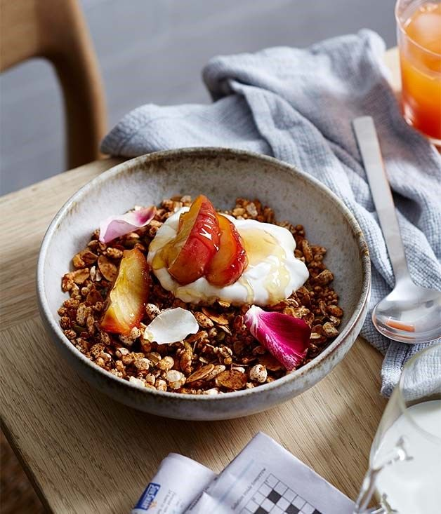 Hobart cafe Pigeon Hole have shared their nutty granola recipe with us, featuring puffed quinoa, manuka honey and plenty of warming spices.