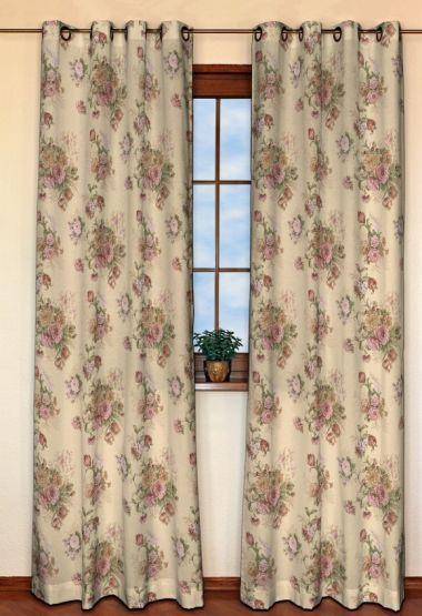 Zasłona na kółkach 1 szt. w kolekcji Flowers/Luna, tkanina: 302-01
