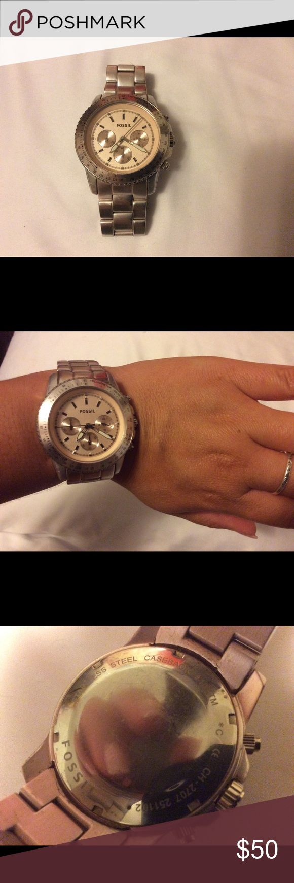Fossil Watch Aluminum Blush Pink Authentic Fossil Watch- battery was replaced 2 years ago and still works. Approximately 8.5 inches in length. Links can be taken out if needed. The face is a little over 1.5 inches wide. Some scratches are on the band. Fossil Accessories Watches