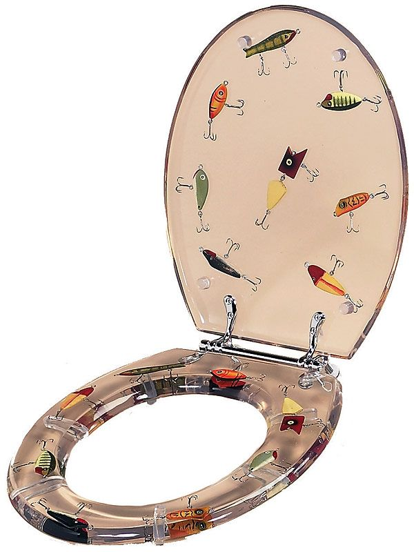 vintage fish decor | Antique Fishing Lures Clear Elongated Toilet Seat we need a new one