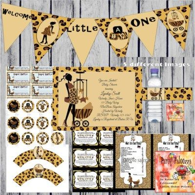 African American safari baby shower download and print party set
