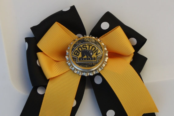 Boston Bruins Boston Bruins Hair Bow Bruins Hair Bow by bowsforme, $6.00