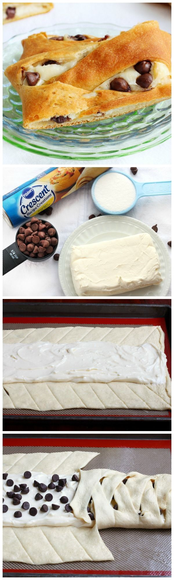 Ditch The Bakery DIY Chocolate Chip Danish ~ Perfectly flaky and fluffy dough combined with a filling of sweet cream cheese and chocolatey oozing.