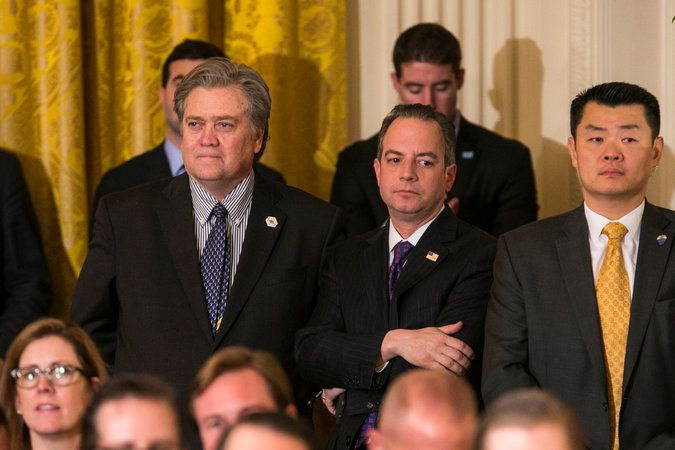 Mr. Bannon, the chief strategist, and Mr. Priebus, the chief of staff, are the two clashing power centers of Mr. Trump's White House. Credit