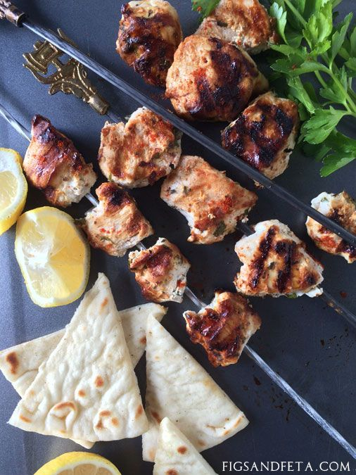 Greek Yogurt Marinated Chicken Souvlaki! Just a few ingredients and you have yourself some delicious chicken kebabs! figsandfeta.com