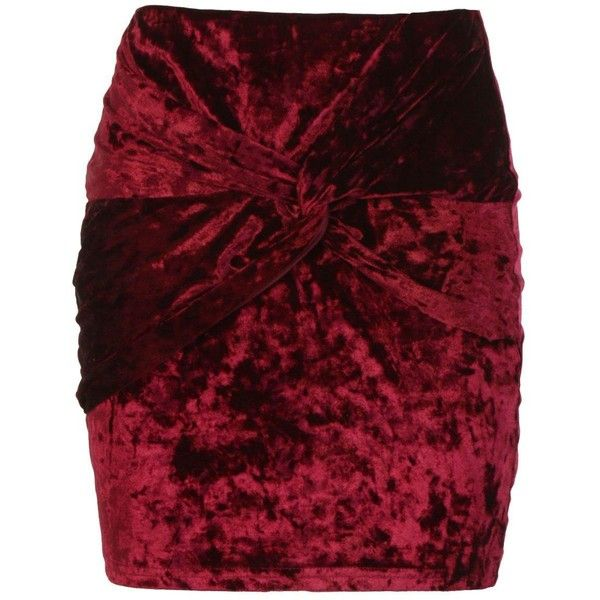 Boohoo Shay Crushed Velvet Knot Front Mini Skirt ($10) ❤ liked on Polyvore featuring skirts, mini skirts, pleated maxi skirts, red pleated mini skirt, short pleated skirt, mini skirt and midi skirts