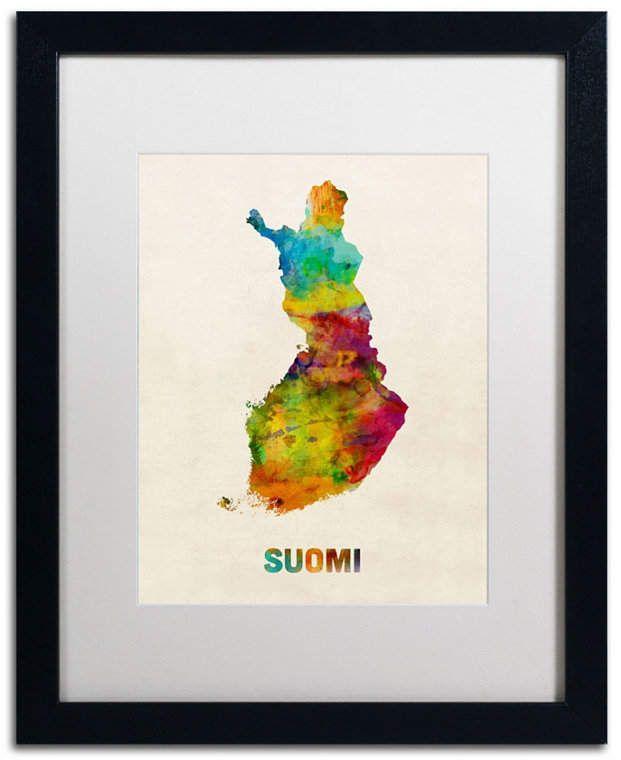 Michael Tompsett 'Finland Watercolor Map (Suomi)' Matted Framed Art – 20 x 16