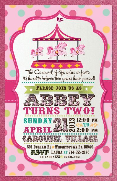 This precious vintage inspired Carousel birthday invitation is the perfect choice if you are planning a Carousel themed birthday party this year. The clever use of retro circus fonts coupled by the adorable vintage merry-go-round carousel layered on a multi-colored polkadot background, makes this custom birthday invitation a must have. The precious graphics and vibrant colors really make this invitation truly spectacular! www.delightinvite.com