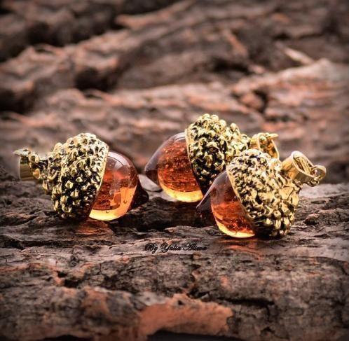 Acorn amber necklace Autumn jewelry Resin by JewelrybyYuliaAlieva