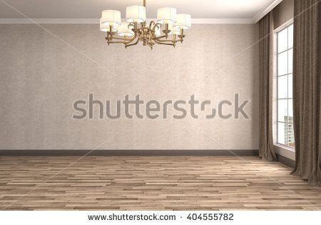 interior with large window. 3d illustration