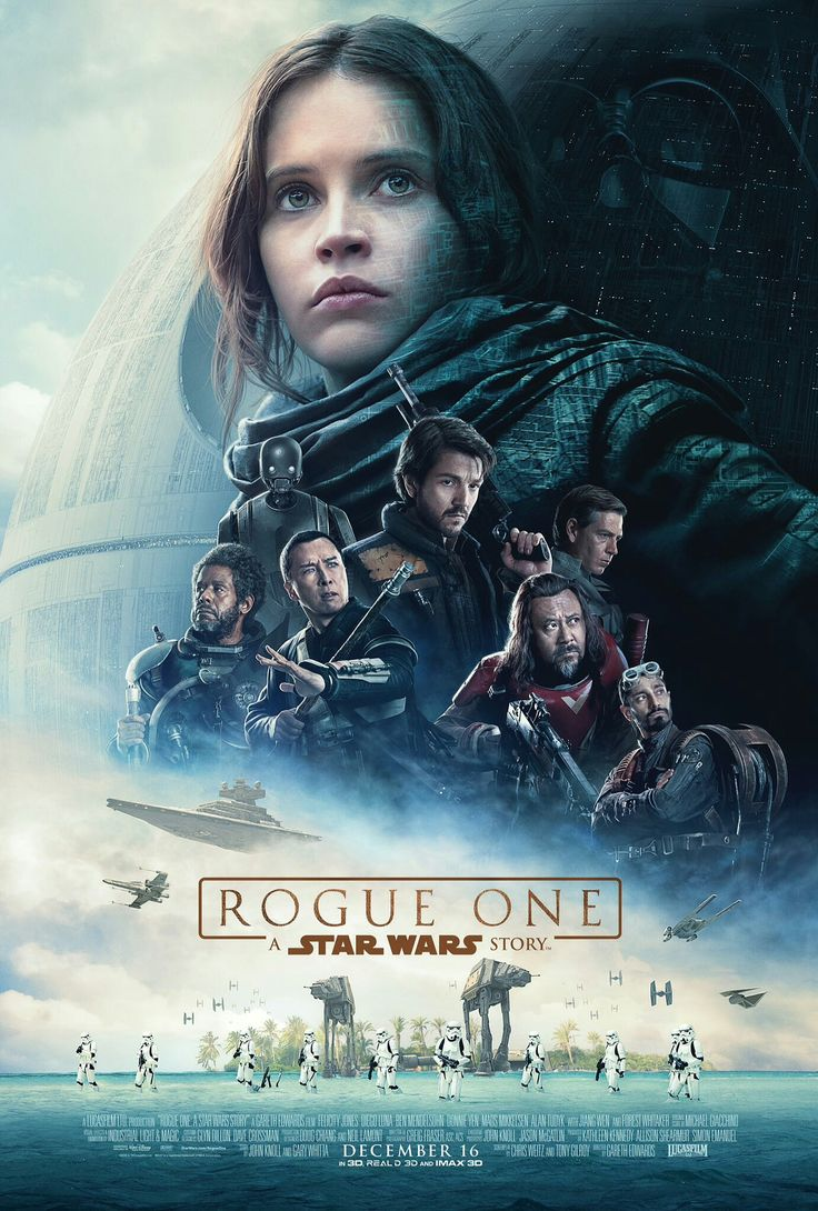 The official poster for Rogue One: A Star Wars Story is the first spinoff movie under the Disney/Lucasfilm regime.  It reveals how the plans for the first Death Star were stolen by the rebels and is set just before ep4. The movie has been described as a 'war' movie.