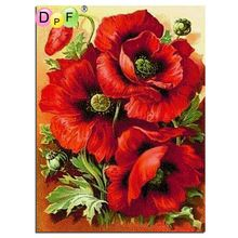 Diy square full Diamond Painting cross stitch Russia Flowers red rose diamond mosaic embroidery canvas home decoration painting
