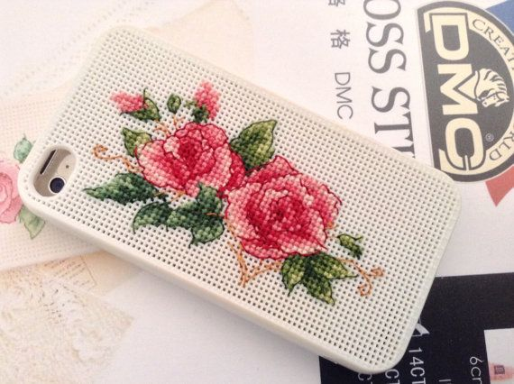 Iphone 5 5s Case.Cross Stitch Rose by AprilBeeShop on Etsy
