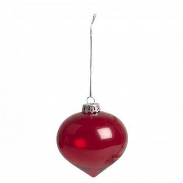 Kerstboomhanger, rood glas, ui-vorm, Ø 8 cm