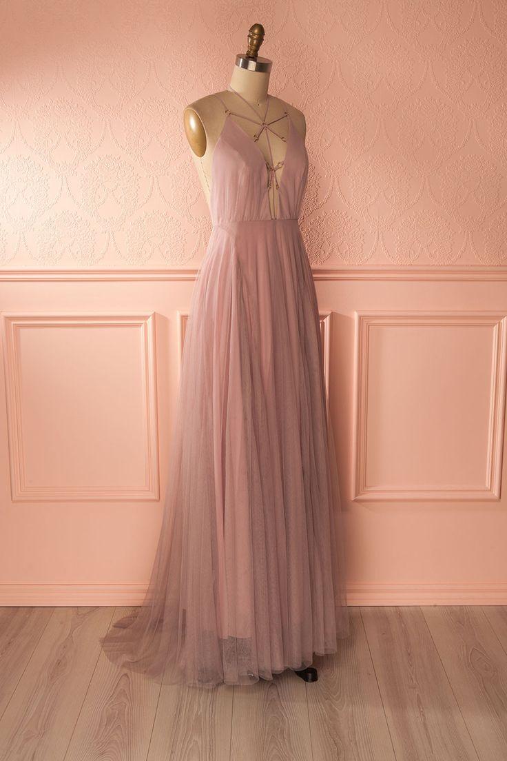 Robe de soirée vieux rose à décolleté lacé - Dusty pink mesh lace-up gown