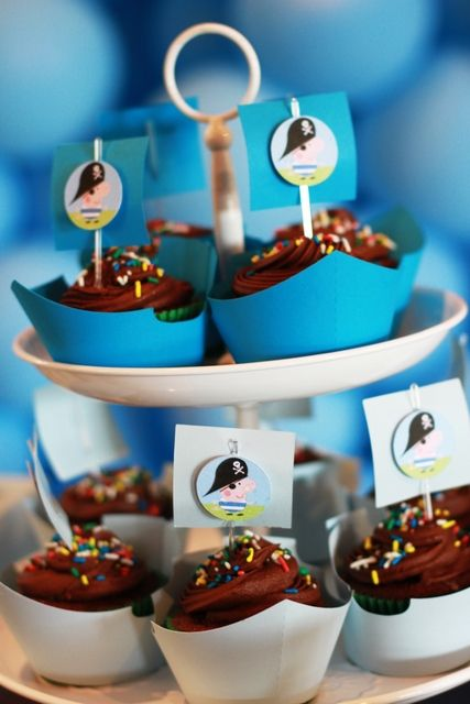George Pig Pirate Birthday Party cupcakes! See more party ideas at CatchMyParty.com!