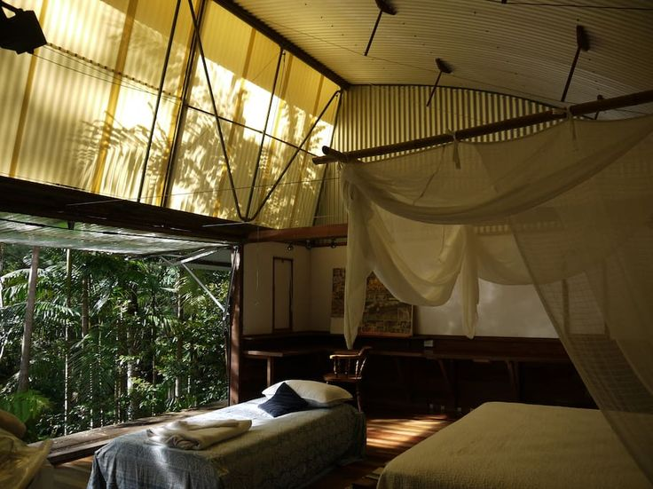 Treehouse in Gleniffer, Australia. Open up your bedroom wall and enjoy the intimate surrounds of rainforest along the Never Never River just below your TreeHouse hideaway. Created by an iconic Australian architect on our 13h property, located ten minutes drive from funky Bellingen....