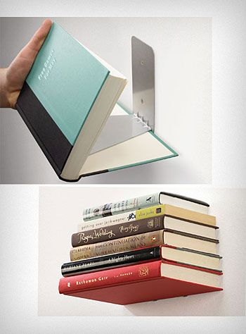 Floating Books Wall Shelf 9 decorating ideas - no tutorial as to how the bottom book is attached.