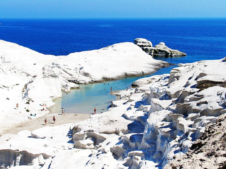Sarakiniko Beach is the most photographed landscape in the Aegean - the bright white rocks eroded over time and resemble the surface of the moon contrasted so beautifully against the turquoise of the surrounding waters.