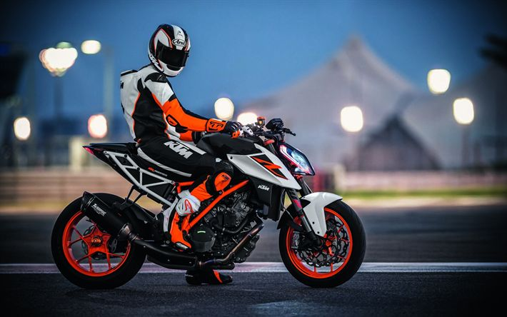 Download wallpapers KTM 1290 Super Duke, 2018, sport motorcycle, new 1290, motorcyclist costume, KTM