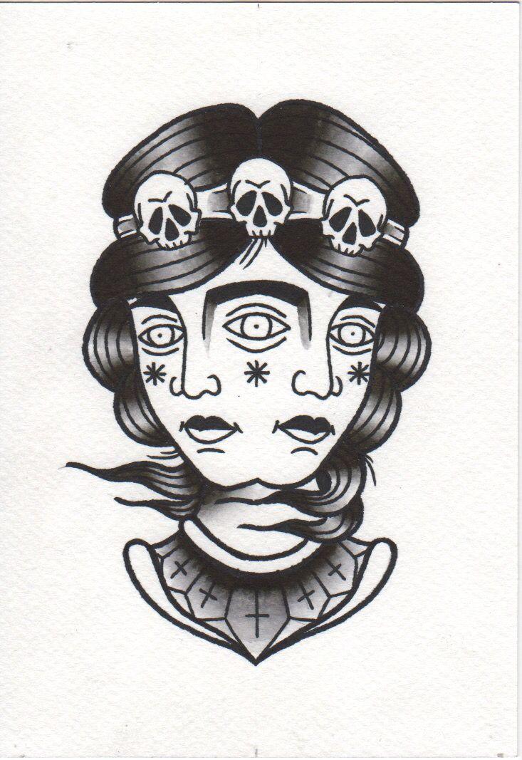 #girl #thirdeye #skull #black #dark #oldschool #traditional #tattoo #patkarpeza