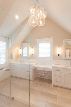 Light peach wall color Jetties House - beach style - bathroom - boston - Chip Webster Architecture