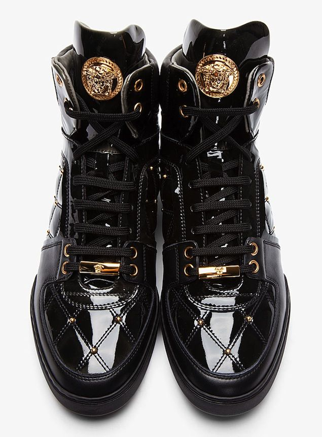 Shoes of the Day: Versace Gold Medusa Quilted Black Patent Leather Sneakers | UpscaleHype