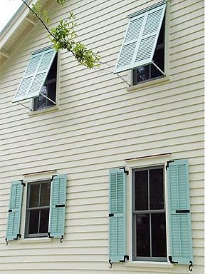 Bahama shutters in Robin's Egg Blue, shutterdogs