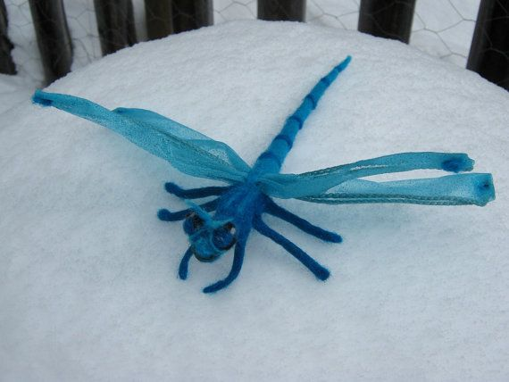 OOAK Blue Fairy DragonFly Needle Felted Soft by SoftForest on Etsy, $28.00