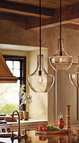 Pendant Lighting...LOVE...This space reminds me of an Italian Villa!! Would love this to be the look in my kitchen!!