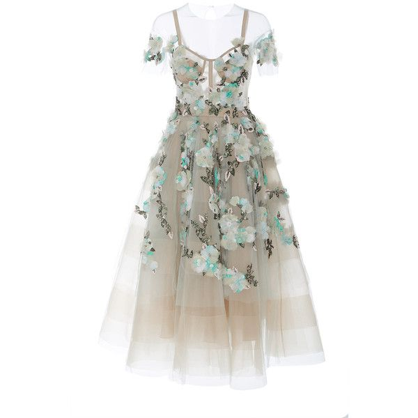 Marchesa     Off the Shoulder Tea Length Cocktail Dress (252,110 DOP) ❤ liked on Polyvore featuring dresses, marchesa, gown, white, white corset, off shoulder dress, white dress, white tea length dress and calf length dresses
