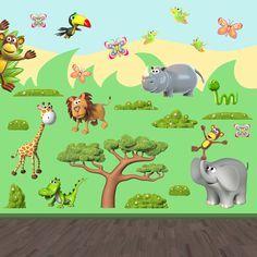 Vinilos Infantiles: Kit Animales de la selva africana: hipopotamo, jirafa, cocodrilo, serpiente, mono, tucan, elefante, leon, mariposas Vinilo decorativo infantil en kit. #vinilosdecorativos #decoracion #patrones #mosaico #selva #teleadhesivo