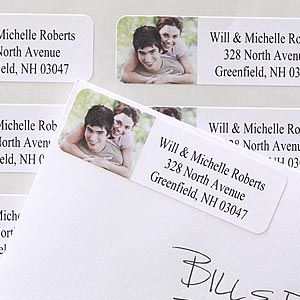 They're Return Address Labels that you personalize with your own photo! Great idea for Wedding Invitations, Thank You Notes, Save The Dates and more ... and very affordable! #Wedding #Invitations #Labels Pinterest...