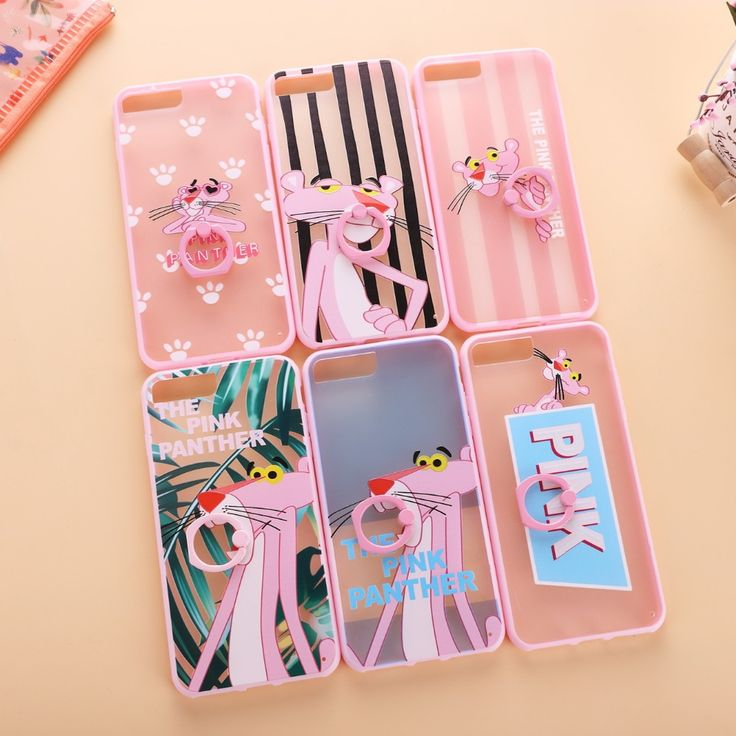New Pink Stripes Leaves Panther Finger Ring Holder Stand Phone Cases for iPhone 7 7 Plus 6 6s 6Plus 6sPlus Back Case Cover