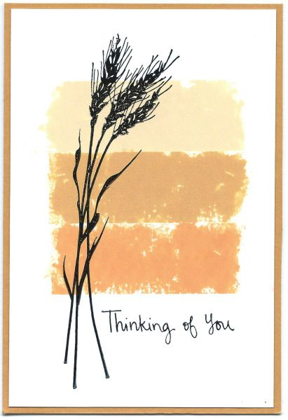 handmade greeting card ... magical masking tape stamping technique by parkes ... three bands of Distress Inks in neutral colors applied with masking tape ... wheat silhouette and sentiment stamped with Stazon black ... glossy cardstock ... luv the clean and artistic look ...