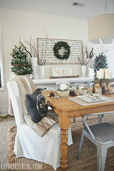 """Who said Christmas decorations have to be only red and green? This yearthe latest inChristmas decor is what I am calling """"rustic glam."""" Neutral colors, twine, and glitter can show the Christmas s..."""