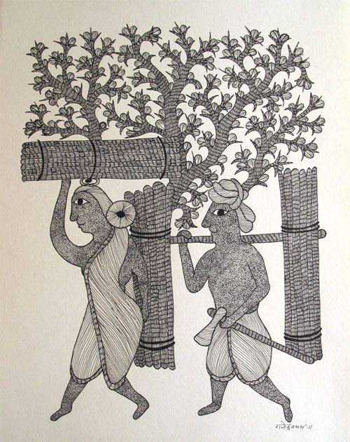 Indigo Arts Gallery | Art from Asia | Gond Indian Folk Painting